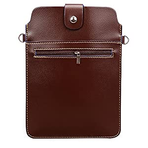 Premium PU Leather Zipper Tablet Pouch Crossbody Bag for iPad Mini/Samsung/ASUS/Acer/Dell/Lenovo/HP/HTC/LG/Toshiba/Jolla/NeuTab Fit 7/7.9/8 inch ios android + SumacLife Cable (Brown)