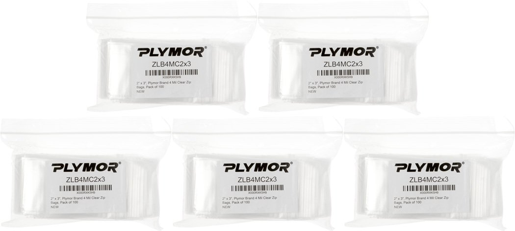 Plymor 2'' x 3'', 4 Mil (Pack of 500) Heavy Duty Plastic Reclosable Zipper Bags