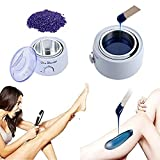 Hair Removal Set, 100g(3.5oz) Hard Pearl Wax Beans + Wax Warmer Heater Pot Machine + 12 PC Wax Sticks