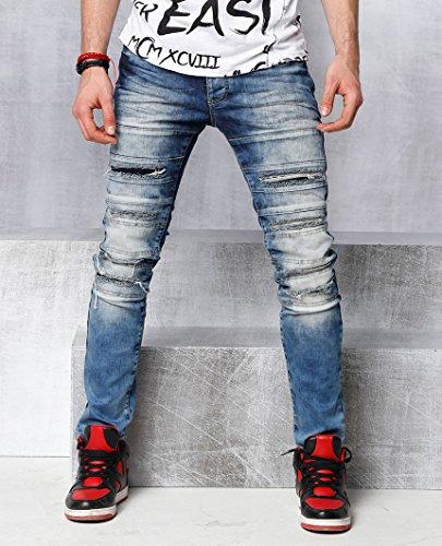 Red Bridge Herren Cut Lines Röhrenjeans Jeans Pants Denim Blau W30 L32