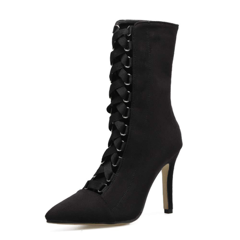 FengJingYuan Damenstiefel Halbstiefel Stilettos Spitze Schuhe Herbst und Winter Cross-Strap-Schuhe