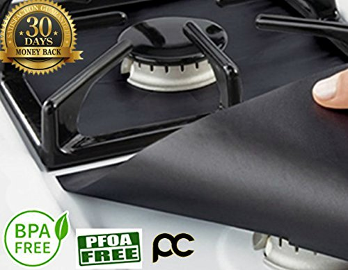 "Gas Range Protector (4 Pieces) - Heavy Duty, Double Thickness, Reusable, Non-Stick Gas Range Protectors | Safest On The Market, 100% Certified BPA & PFOA Free (10.6"" x 10.6"") – NEW & IMPROVED 2017"