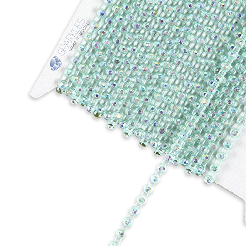 Sparkles Make It Special 1 Row SS10 AB Crystal Rhinestone Banding - 10 Yard (30 Feet) Trim Chain Wrap Spool Roll - Wedding Decoration, Cake Banding, Arts & Crafts - Light Blue