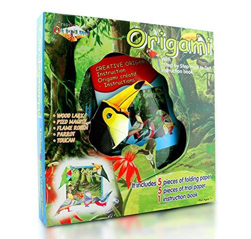 Origami Kit for Kids Safari Birds Edition- 10 Pieces of Origami Paper - 5 Origami Birds to Create - Origami Instruction Book for Children and Beginners - Starter Kit