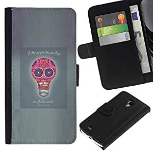 Billetera de Cuero Caso del tirón Titular de la tarjeta Carcasa Funda del zurriago para Samsung Galaxy S4 Mini i9190 MINI VERSION! / Business Style Idea Skull Funny Poster Light Bulb Grey