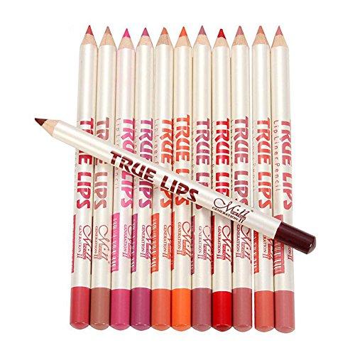 Ownest 12 color Lip Liner Pencil, Waterproof Long Lasting Matt Velvet Lipstick Pen, Make-up Kit