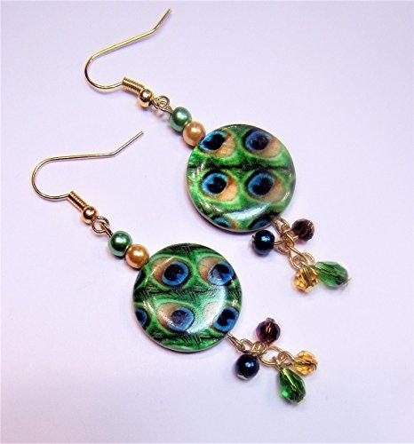 Peacock Blue and Green Earrings - Beryl