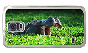 Hipster rubber Samsung Galaxy S5 Cases hippo in water PC Transparent for Samsung S5