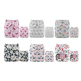 ALVA Cloth Diaper One Size Adjustable Washable Reusable for Baby Girls and Boys 6 Pack with 12 Inserts 6DM61