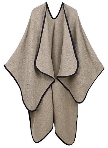 Andorra Women's Merino Wool Loose Open-Front Sweater Cardigan Poncho - Wrap Wool Jacket