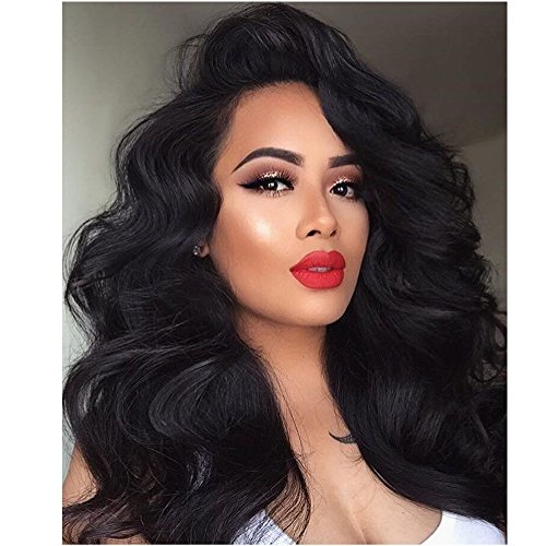 Eayon Hair Body Wave Lace Front Wig Brazilian Remy Human Hair For African Americans 130% Density 18 Inch #1B by Eayon Hair