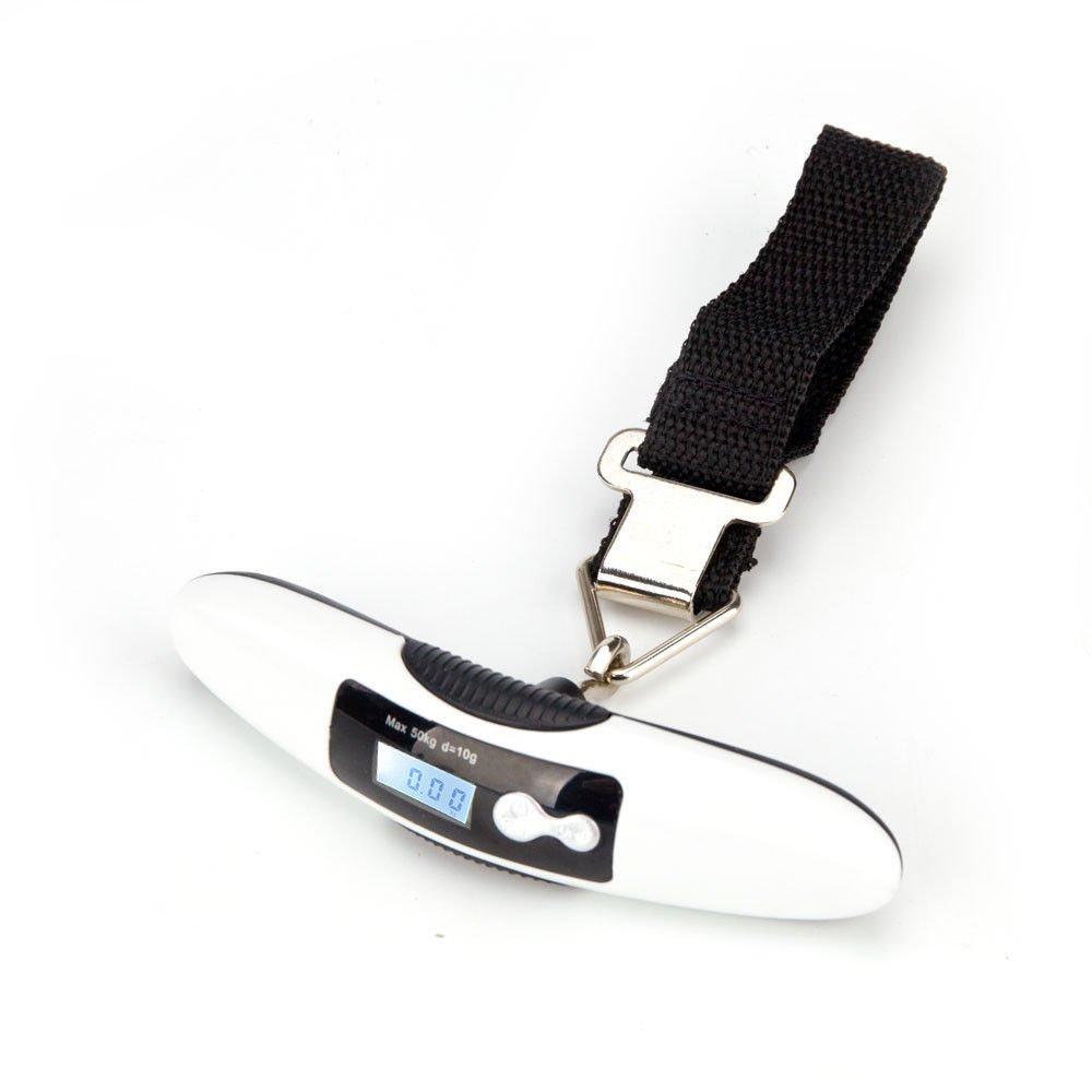 Plus Mi Life Mini Travel Tare 110lb LCD Hanging Digital Suitcase Luggage Scale White