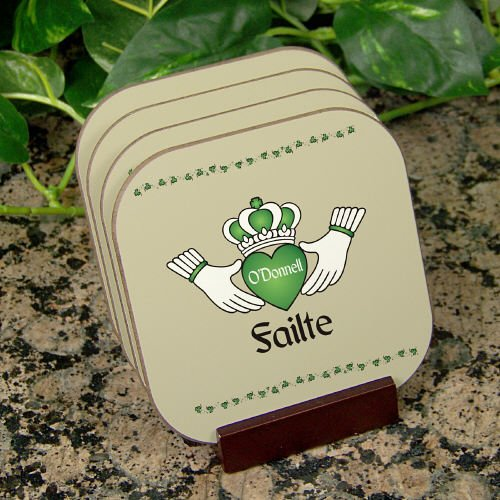Personalized Failte Irish Coaster Set of 4, Mahogany Holder Included -