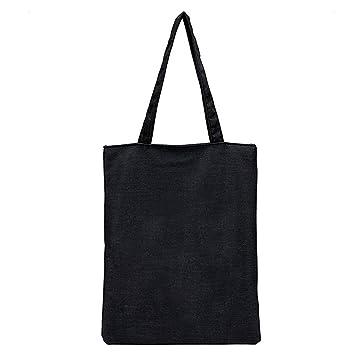 Cartoon Line Zipper Shopper Tote Canvas Black White Shopping Large Clothes Bags