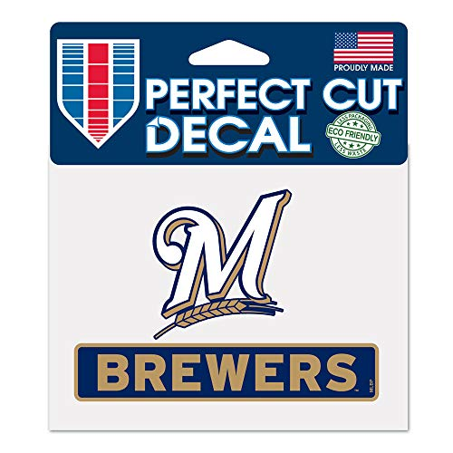 (WinCraft MLB Milwaukee Brewers WCR18060014 Perfect Cut Color Decal, 4.5