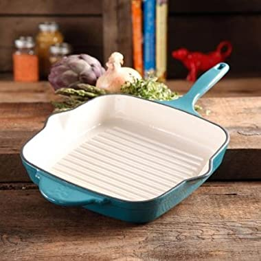 The Pioneer Woman Timeless Square Cast Iron 10.25  Cast Iron Enamel Grill Pan (Turquoise)