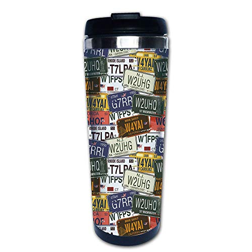 - Stainless Steel Insulated Coffee Travel Mug,Plates Utah Washington Rhode Island North,Spill Proof Flip Lid Insulated Coffee cup Keeps Hot or Cold 13.6oz(400 ml) Customizable printing