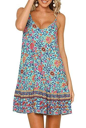 Womens Casual Boho Floral Swing Short Shift Beach Midi Dress Spagehetti Strap Sundress Green Blue