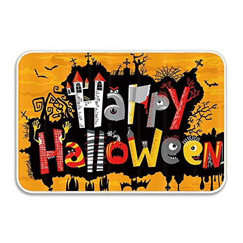 (Gothic Happy Halloween Cute Greeting Card Lettering Bats Indoor/Outdoor Doormat Anti-Skid Entrance Rug Floor Mat Home Decor Outside Doormat 16 X 24)