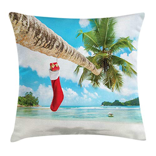 (Ambesonne Christmas Throw Pillow Cushion Cover, Sock on The Palm Tree on Tropical Sandy Beach Island Maldives Festive Design, Decorative Square Accent Pillow Case, 18 X 18 inches, Multicolor)