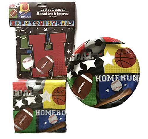 Sports Party Supplies for Boys - Soccer, Basketball, Football, Baseball Birthday Banner, 00Paper Plates and Napkins for 36 Guests]()