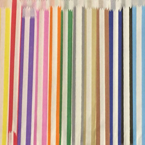 100 Mixed 7″ x 9″ Candy Stripe Paper Bags Sweet Counter Pick & Mix Sweet Coloured Party Bag – Ideal for Gift Shops, Wedding Favours, Candy Carts, Buffets JeeJaan®