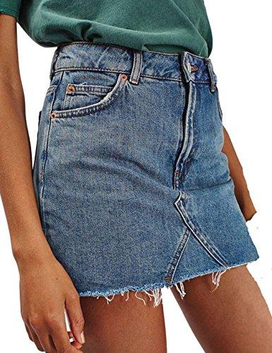 Bodycon Haute Jean Naliha Taille Jean Frange Slim en Femmes Jupe Claires Court Bleues Les Jupes ppnEB0g
