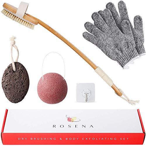 Dry Skin Body Exfoliator Set - Shower and Bath Scrubber for Wash & Dry Brushing, Exfoliating, Foot Scrub, Cellulite, Lymphatic Detox - Includes Exfoliating Gloves, Pumice Stone, Konjac Sponge