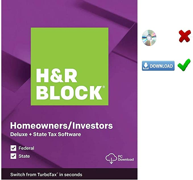 Amazon Com Hr Block Deluxe 2019 Tax Software Homeowners Investors 5 Fed E File State Pc Mac D0wnl0ad Code Only Not Cd