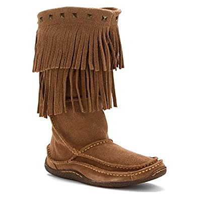 "Durango Boot Women's DCRD101 13"" Santa Fe Fringe Moc,Sand,US 6 M"