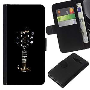 KLONGSHOP // Tirón de la caja Cartera de cuero con ranuras para tarjetas - Epiphone Guitarra - Samsung Galaxy Core Prime //