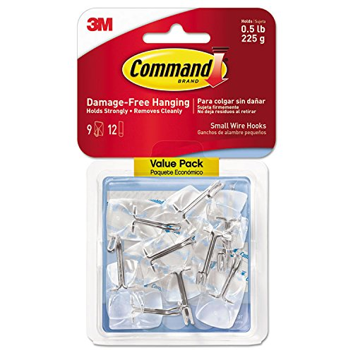 3M Command 17067CLR9ES Clear Hooks & Strips, Plastic/Wire, Small, 9 Hooks w/12 Adhesive Strips/Pack