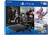 Newest Flagship Sony Play Station 4 1TB HDD Only on Playstation PS4 Console Slim Bundle - Included 3X Games (T