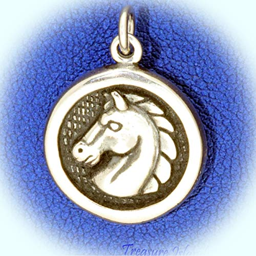 Horse Head Medallion Round .925 Solid Sterling Silver Charm Pendant Vintage Crafting Pendant Jewelry Making Supplies - DIY for Necklace Bracelet Accessories by - Sterling Silver Horse Earrings Medallion