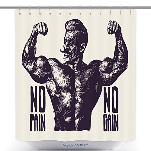 Low Back Pain Poster (vanfan-Cool Shower Curtains Design T Shirt Or Poster No Pain No Gain With Bodybuilder With A Mustache Retro Engraving Linocut Polyester Bathroom Shower Curtain Set With Hooks(40 x 72 inches))
