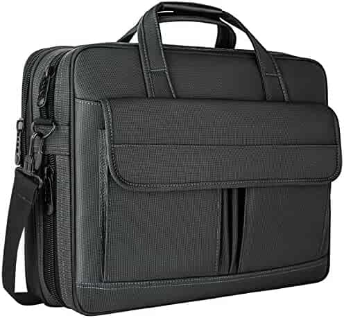 Laptop Bag 15.6 Inch,Water Resistant Travel Briefcase, 15inch Expandable Messenger Shoulder Bag with Strap, Taygeer Carry On Handle Case for Computer/Notebook/Tablet for Business Men, Black