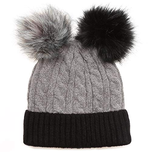 23fd57221 MIRMARU Women's Winter Cable Knitted Faux Fur Double Pom Pom Beanie Hat  with Plush Lining. (Two Tone Pom-Charcoal)