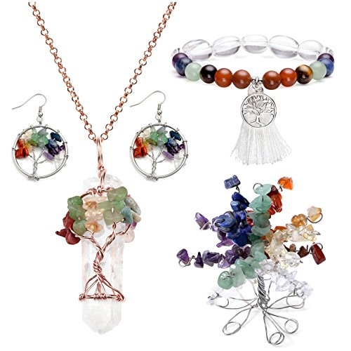 Top Plaza 7 Chakra Tree Of Life Crystals Jewelry Decor Set - Copper Wire Wrap Tree of Life Clear Quartz Point Pendant Necklace & Earrings & Crystal Money Tree & (25' Decor Wrap)