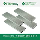 4 - Bissell Style 8 & 14 Lift-Off Bagless HEPA Filters, Part # 3091. Designed by FilterBuy to fit All Bissell PetHair Eraser & Bissell Velocity Dual Cyclonic Upright Vacuum Cleaners