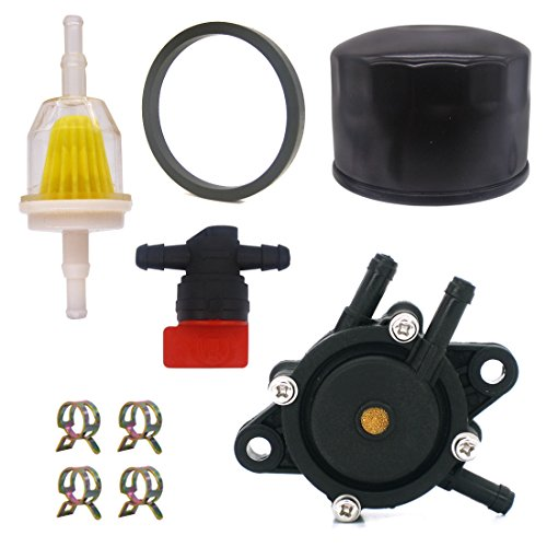 NIMTEK 24 393 16-S Fuel Pump with 12 050 01-S Oil Filter for Kohler CH18-CH25 CV17-CV25 CV620-CV1000 ECV650-ECV980 SV710-SV840 17HP-25HP Engine Lawn Mower