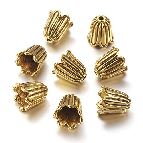 Craftdady 20Pcs Antique Golden Flower Spacer Bead Caps 10x10mm Cadmium Free & Lead Free & Nickel Free Tibetan Metal Bead Cone End Caps Terminators for DIY Jewelry Making