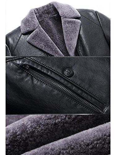 Pecora Finto Giacca Di Di Vestito Giacca Spessore Collare Mens Caldo Ruiyuns Pu Fodera Lambswool Nera Pelle Parka XwzOfgqz
