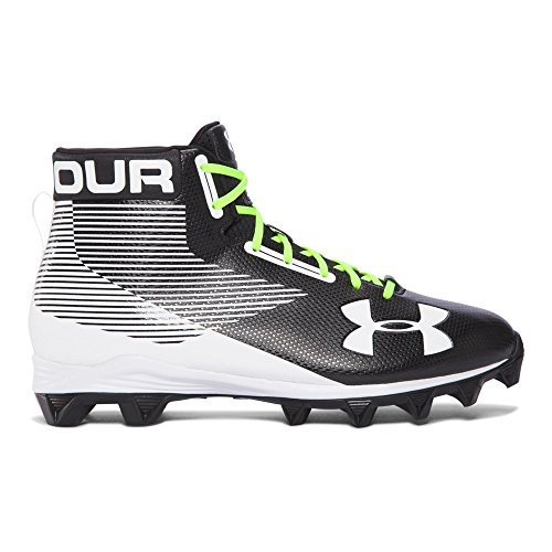 Under Armour Men's Hammer Mid RM Football Shoe, Black (011)/White, 11.5