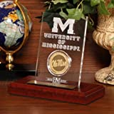 NCAA Mississippi Old Miss Rebels Etched Acrylic Coin, 9'' x 7'' x 2'', Gold