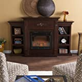 Southern Enterprises Tennyson Electric Fireplace with Bookcase, Classic Espresso Finish