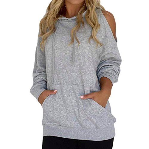 (Women Blouse Daoroka Ladies Sexy Hollow Out Off Shoulder Hooded Long Sleeve Casual Loose Sweatshirt Pocket Fashion Tops (L, Gray))