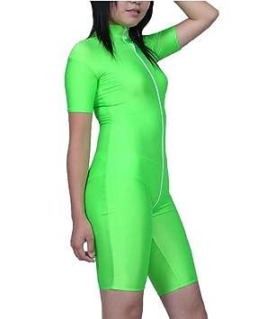 DuuoZy de las mujeres atractivas de Apple Verde Lycra Body Ropa interior mono de Shorty ,