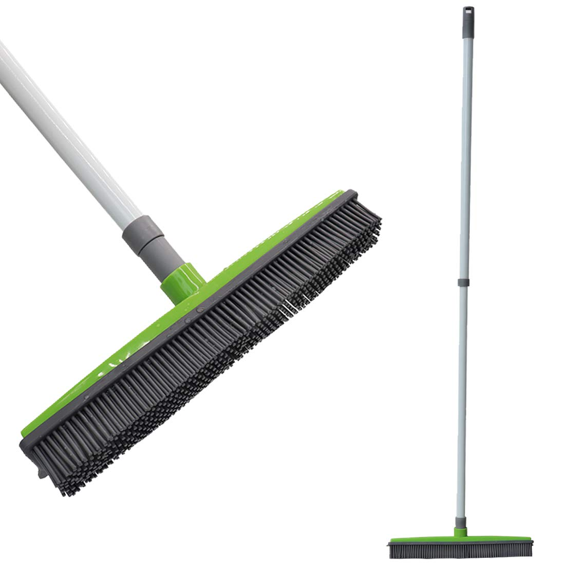 FamilyDate 2.3 ft to 4.5 ft TPR Natural Telescoping Handle Pet Hair Remover Rubber Broom with Squeegee, Push Broom Carpet Broom, Pet Hair Removal-No Dead Angle Cleaning