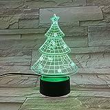 LE3D 3D Optical Illusion Desk Lamp/3D Optical Illusion Night Light, 7 Color LED 3D Lamp, Xmas Tree 3D LED For Kids and Adults, Xmas Tree Light Up