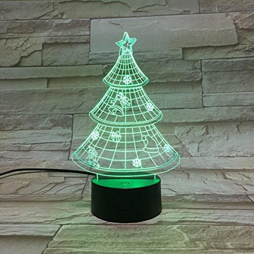 LE3D 3D Optical Illusion Desk Lamp/3D Optical Illusion Night Light, 7 Color LED 3D Lamp, Xmas Tree 3D LED For Kids and Adults, Xmas Tree Light Up